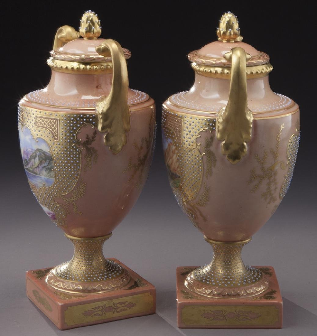 (3) Royal Vienna covered urns, - 3