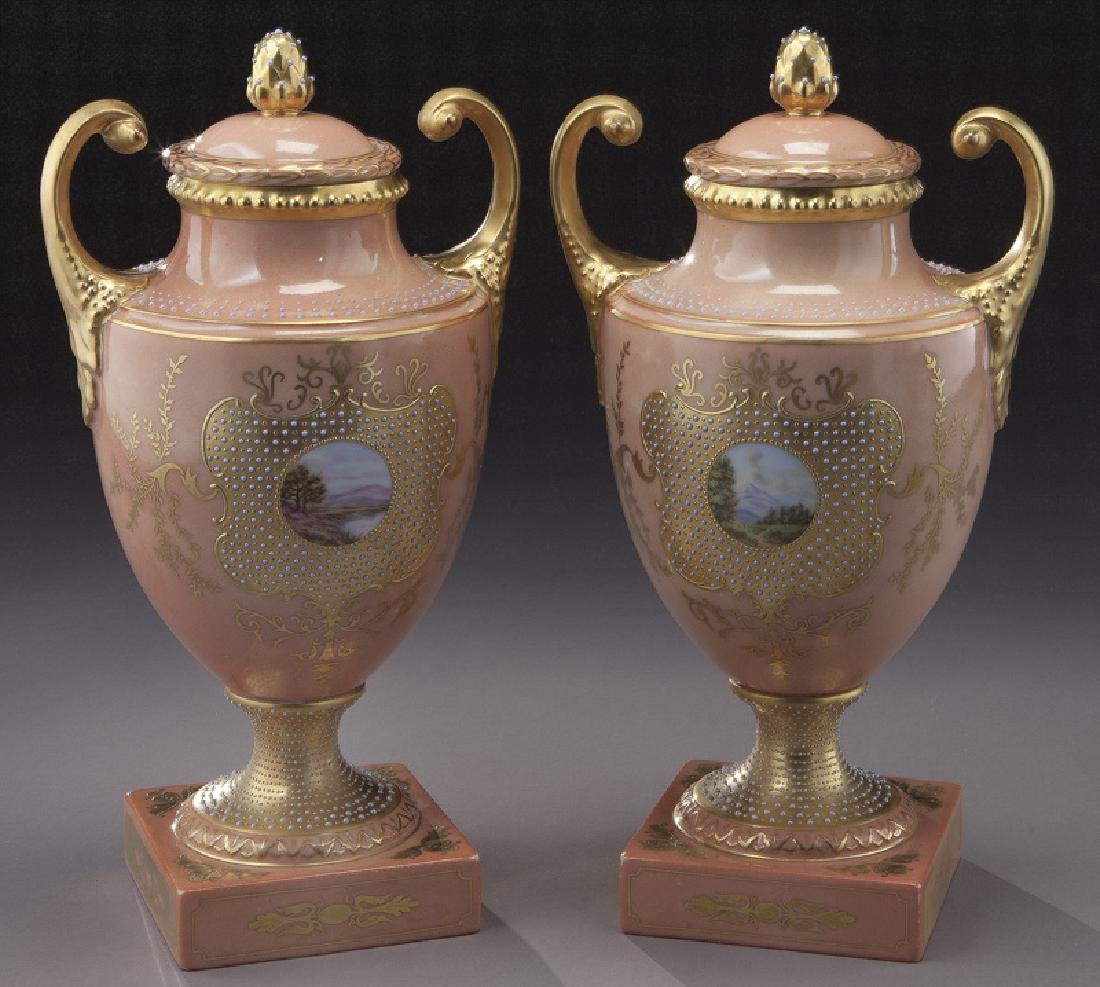 (3) Royal Vienna covered urns, - 4