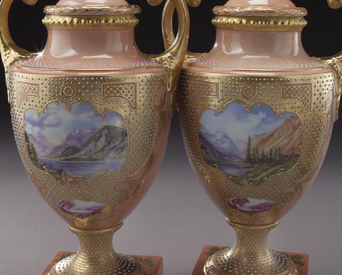 (3) Royal Vienna covered urns, - 5
