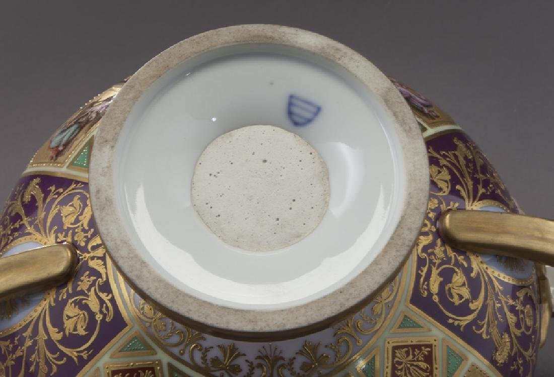 (3) Royal Vienna covered urns, - 7