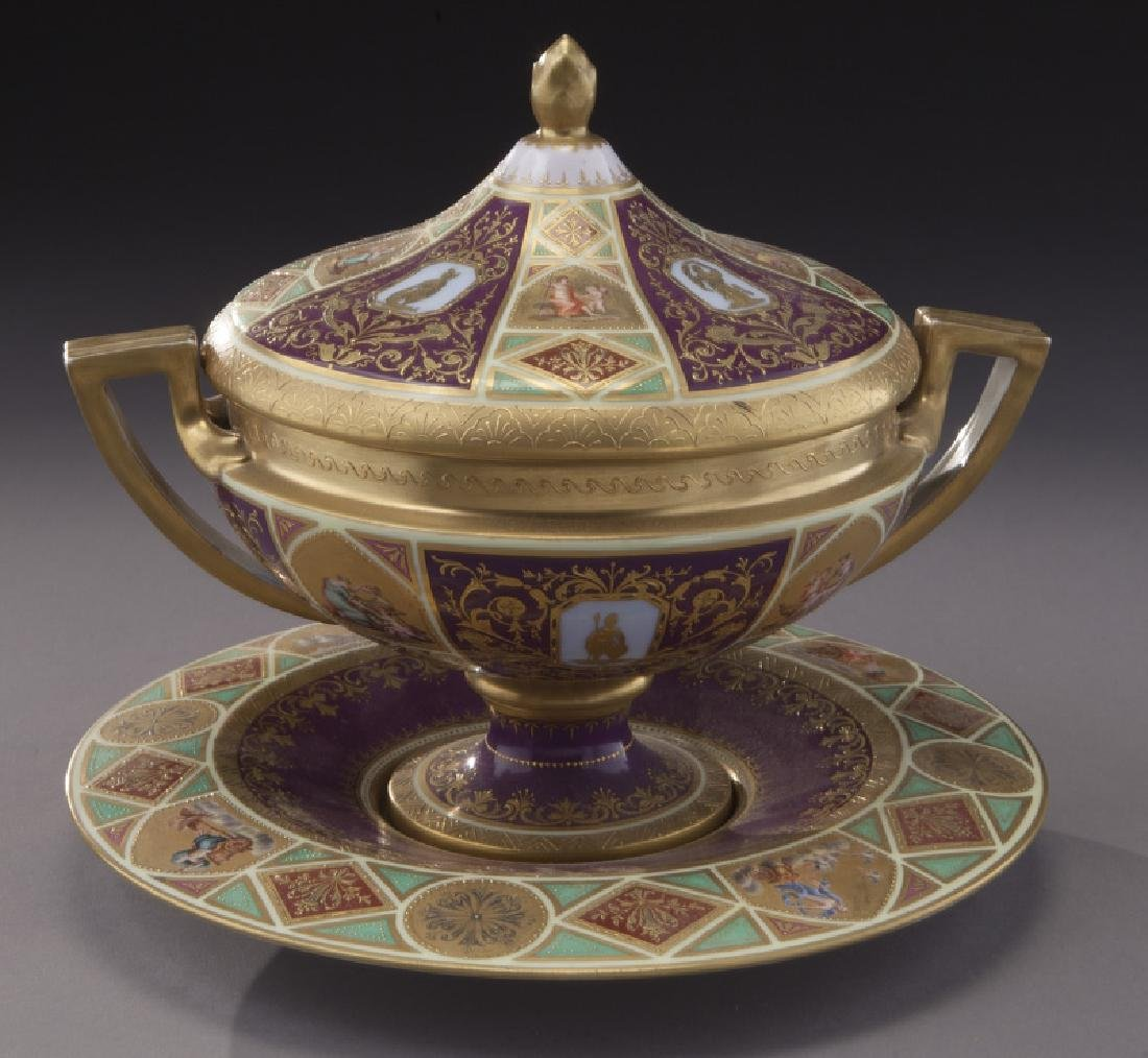 (3) Royal Vienna covered urns, - 8