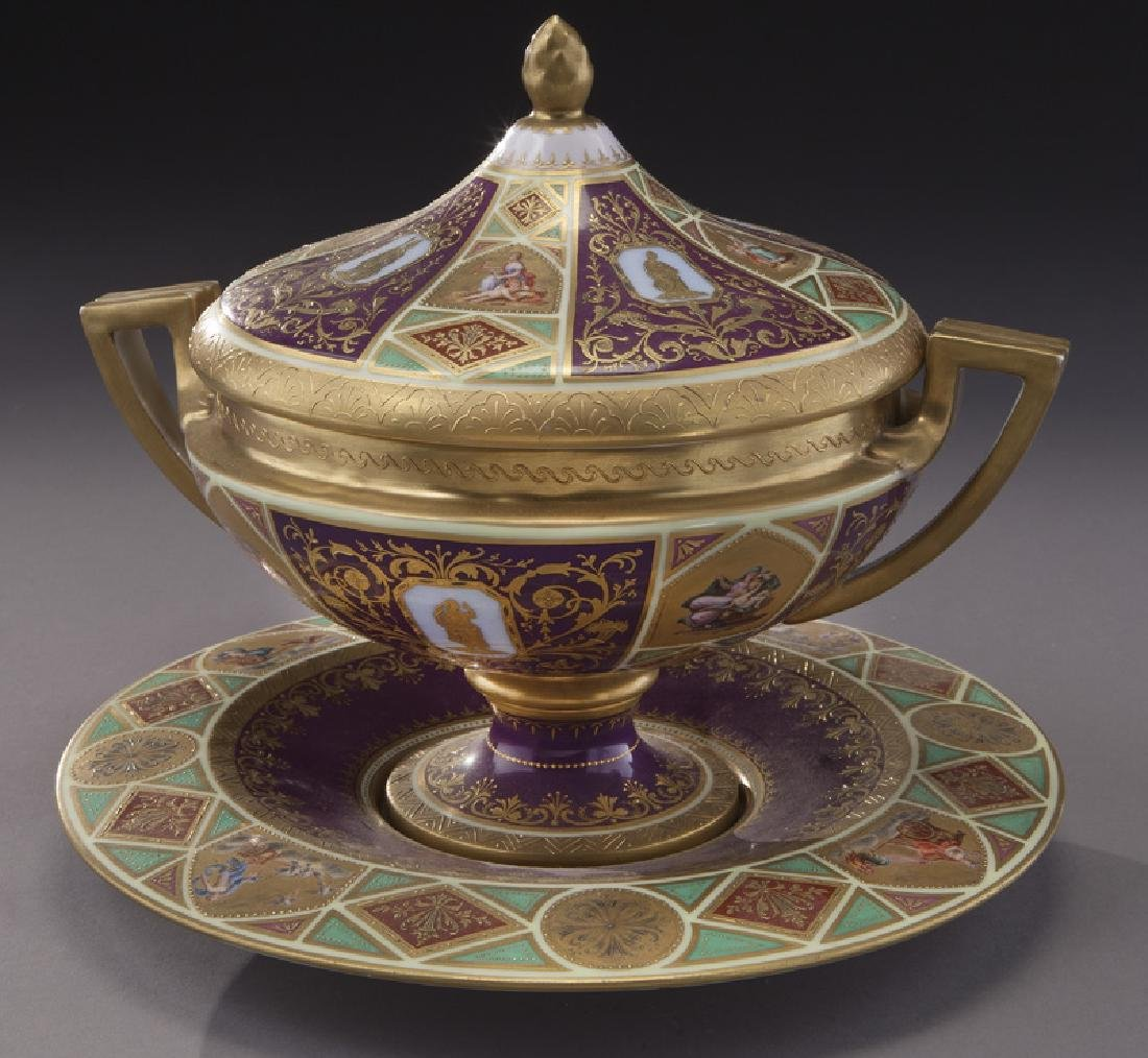 (3) Royal Vienna covered urns, - 9