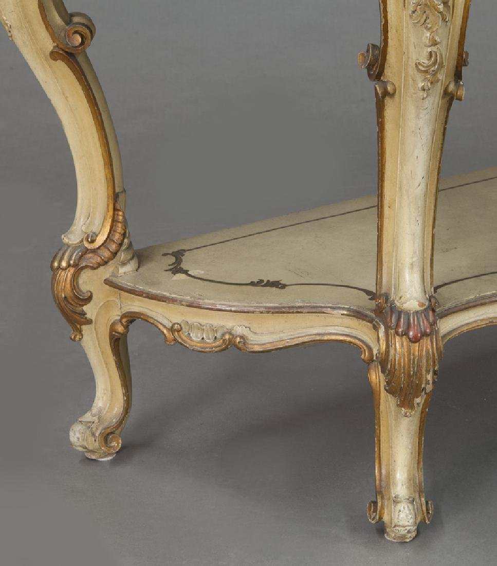 Italian parcel gilt and painted console table, - 10