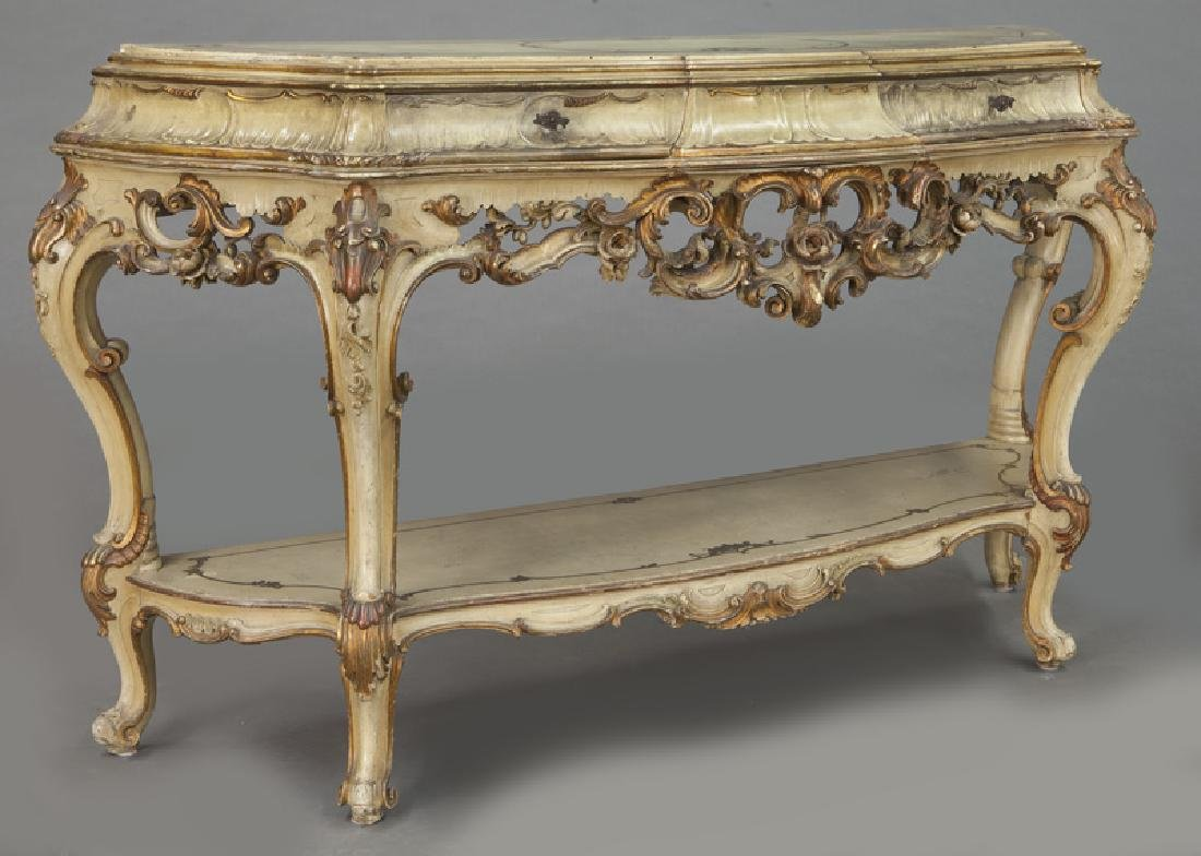Italian parcel gilt and painted console table, - 2