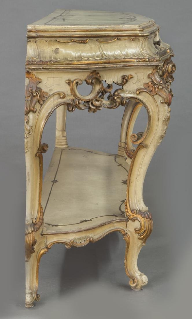 Italian parcel gilt and painted console table, - 3