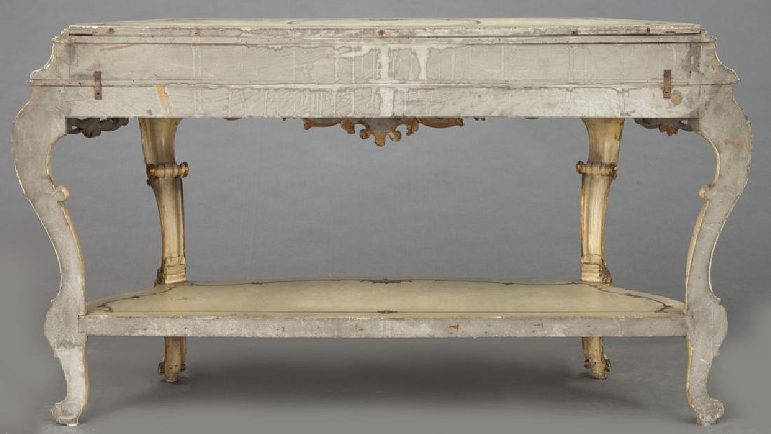 Italian parcel gilt and painted console table, - 4
