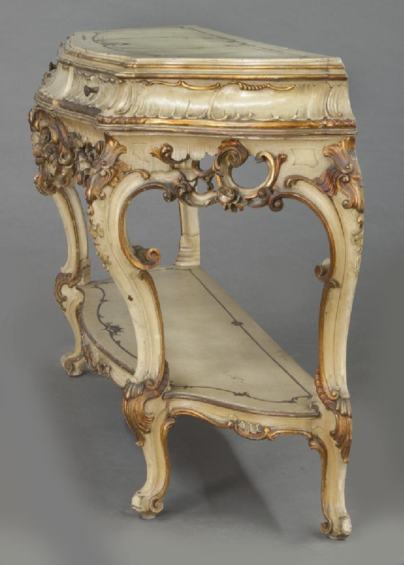 Italian parcel gilt and painted console table, - 5