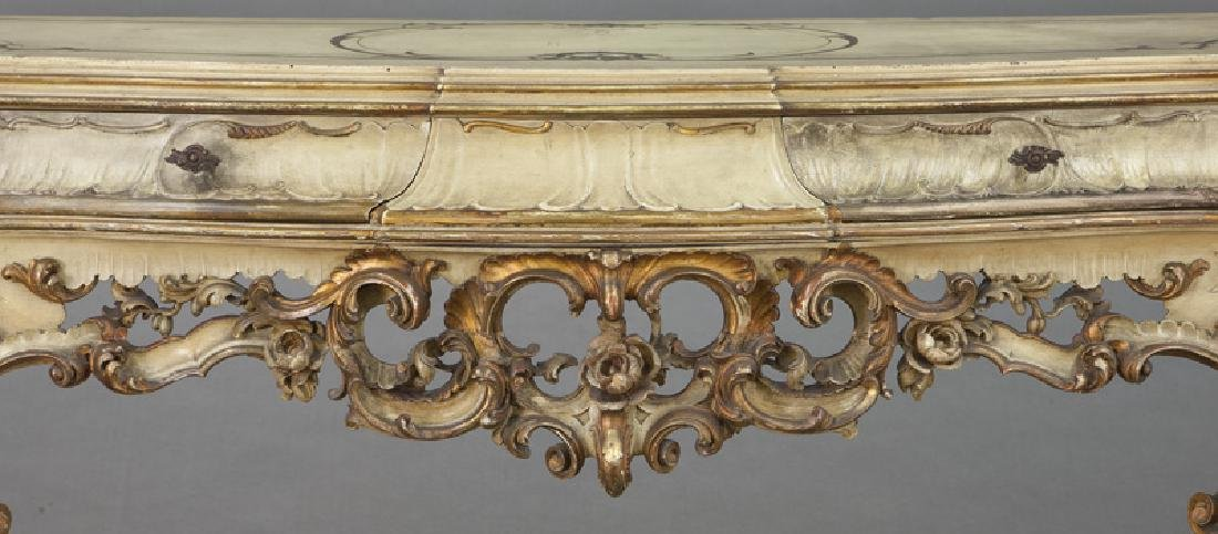 Italian parcel gilt and painted console table, - 6