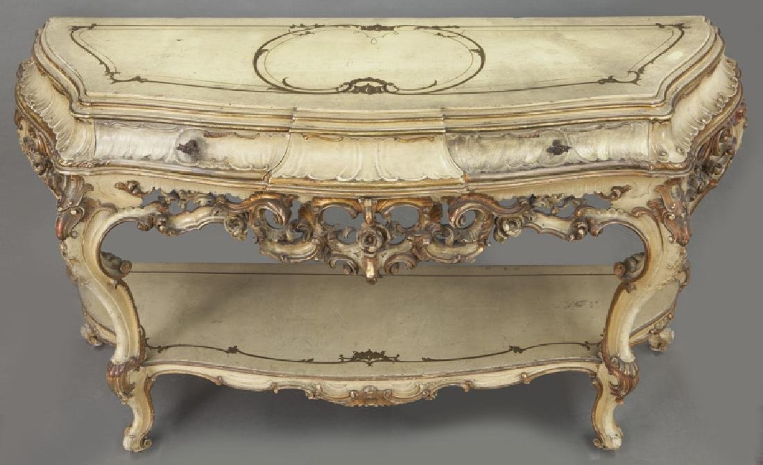 Italian parcel gilt and painted console table, - 7