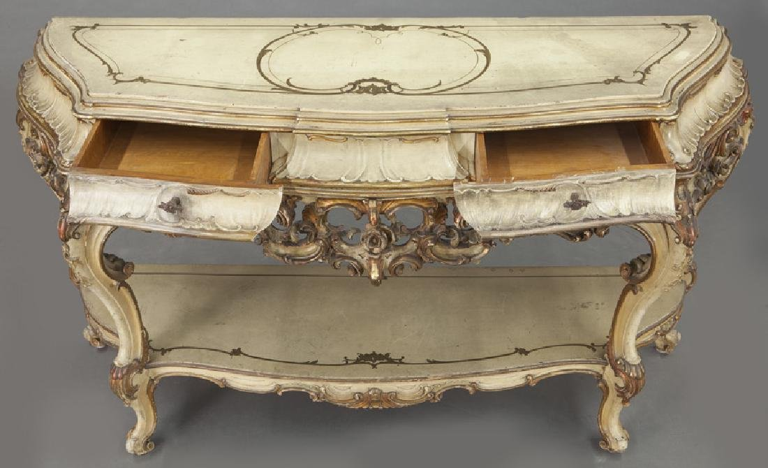Italian parcel gilt and painted console table, - 8
