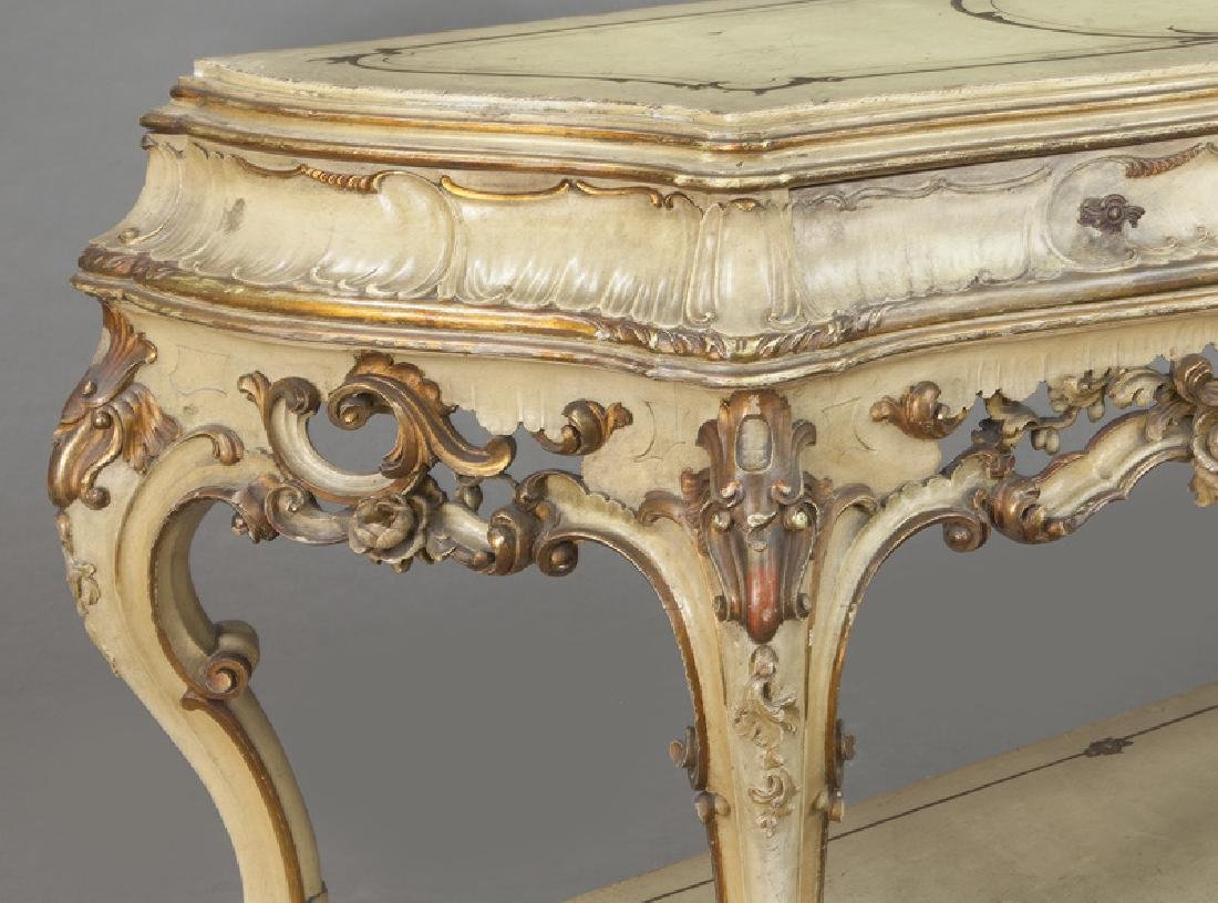 Italian parcel gilt and painted console table, - 9
