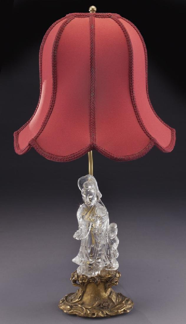 Chinese cut crystal figure of a Guan Yin on carved