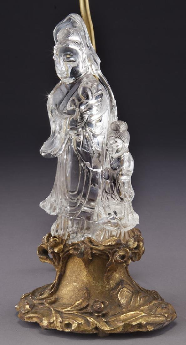 Chinese cut crystal figure of a Guan Yin on carved - 2