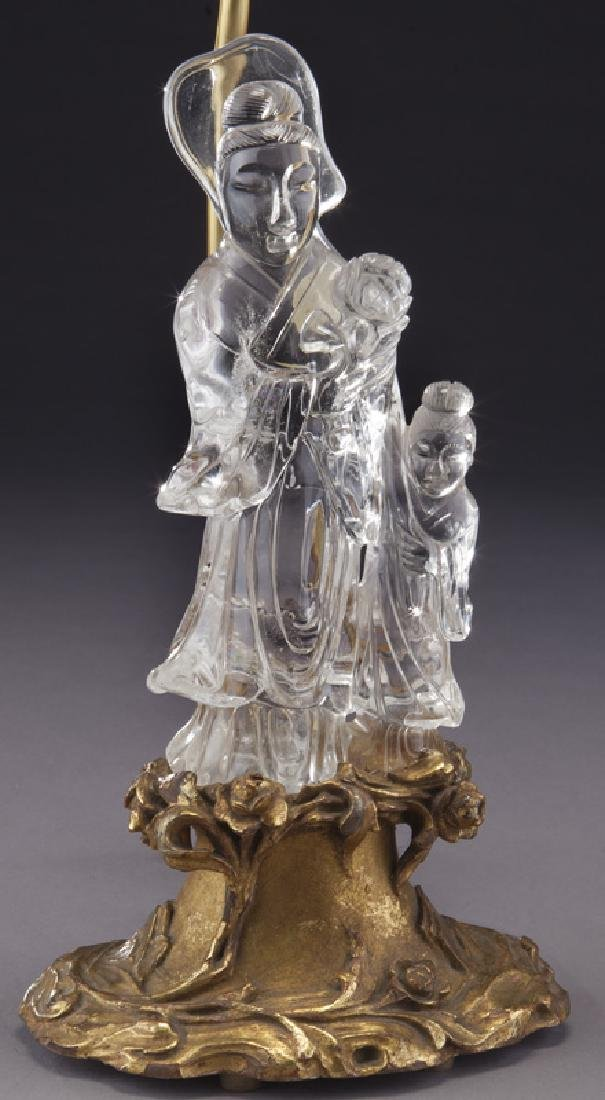 Chinese cut crystal figure of a Guan Yin on carved - 3