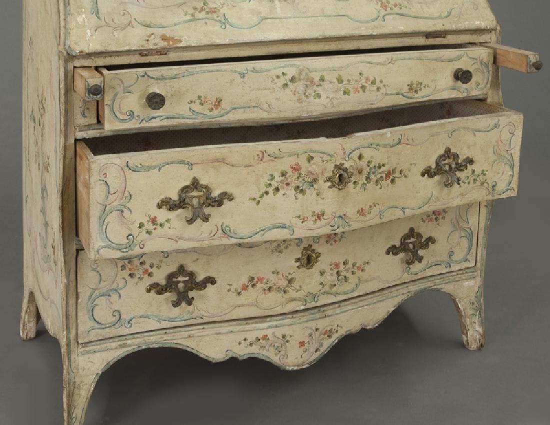 Venetian hand painted drop front desk, - 9