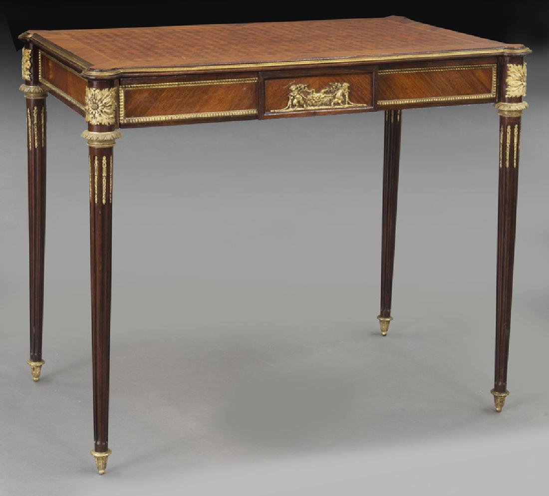 Louis XVI style dore bronze mounted side table,
