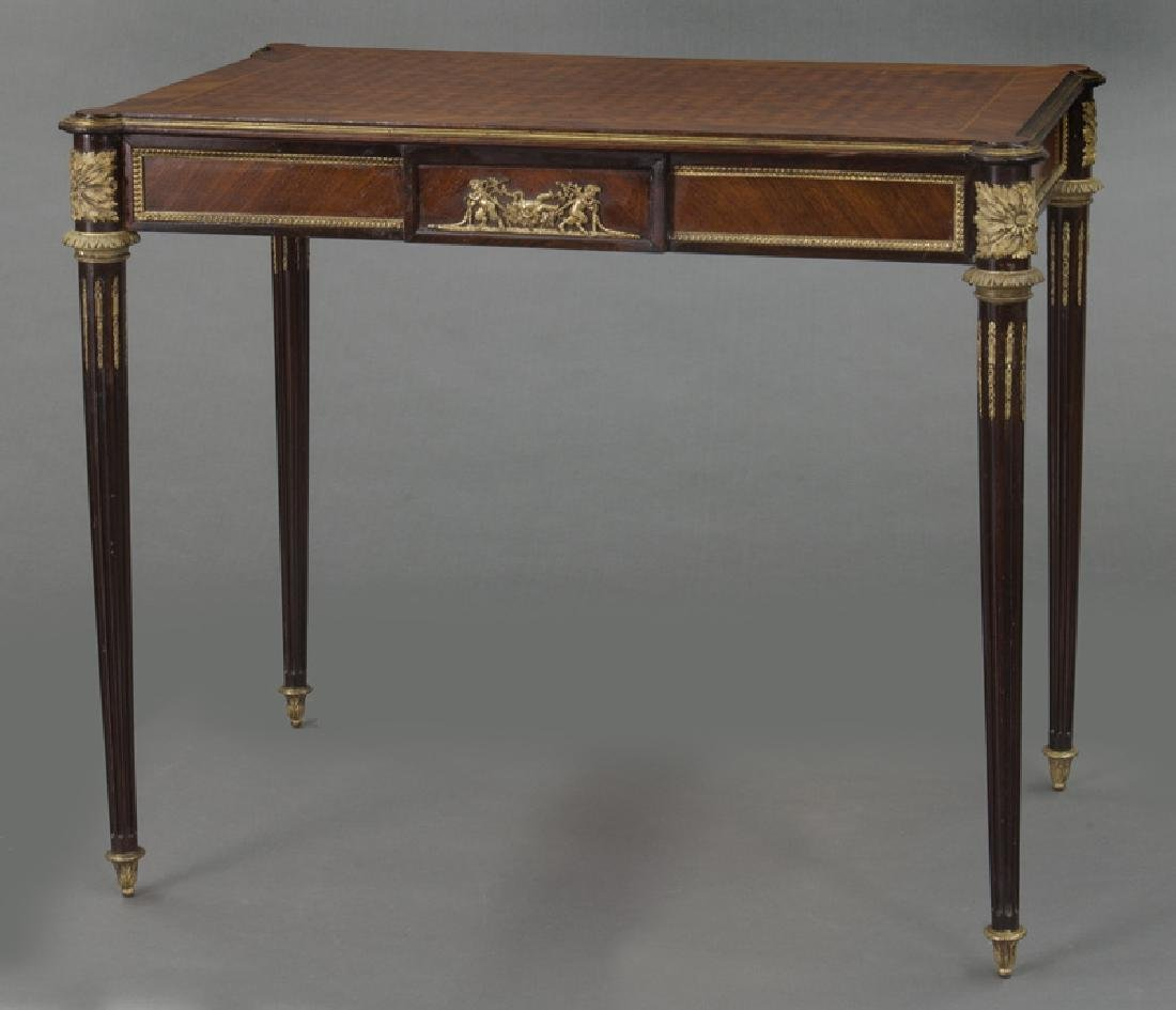 Louis XVI style dore bronze mounted side table, - 4