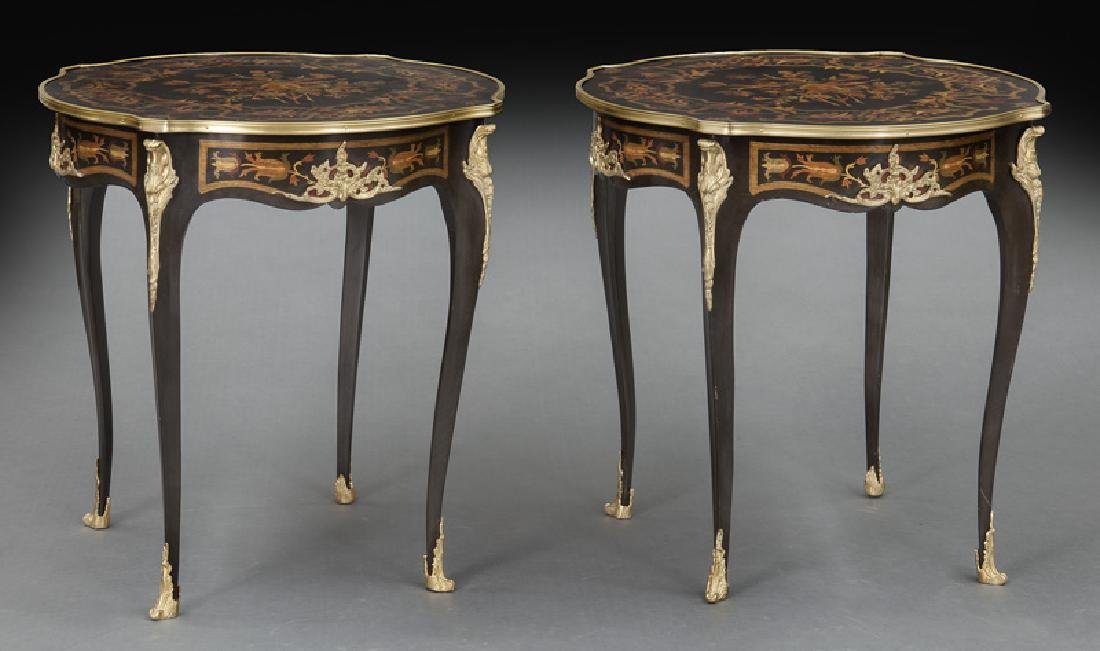 Pr. Louis XV style inlaid side tables
