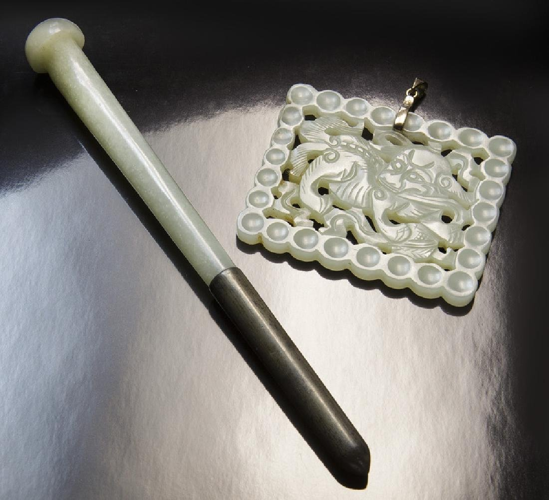 Chinese Ming to Qing carved jade hairpin