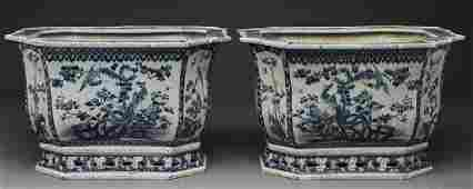Pr. Chinese blue and white porcelain rectangular