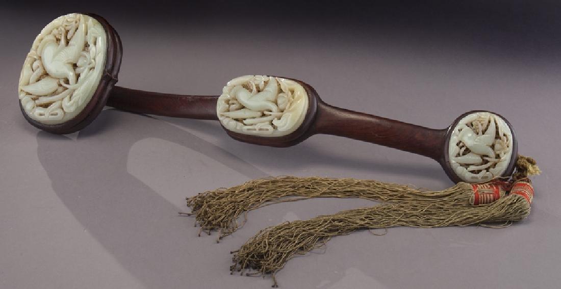 Chinese hardwood and jade ruyi scepter,