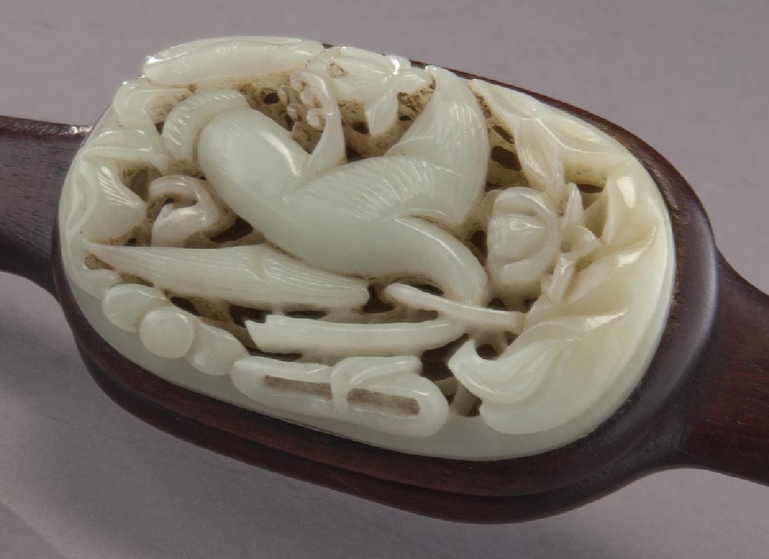 Chinese hardwood and jade ruyi scepter, - 3