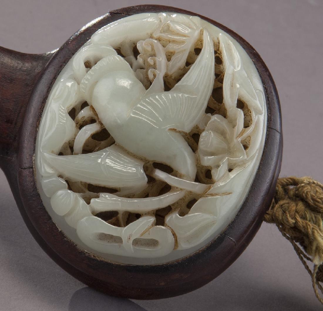 Chinese hardwood and jade ruyi scepter, - 4
