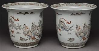 Pr. Chinese polychrome porcelain jardinieres