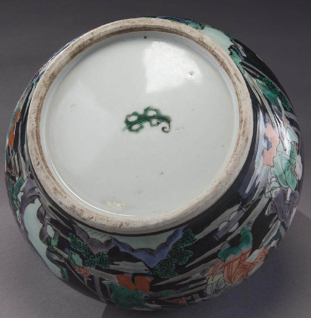 Small Chinese famille noire porcelain planter, - 6