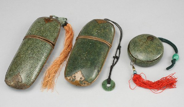 3: (3) 19th C. Chinese Qing shagreen spectacle cases