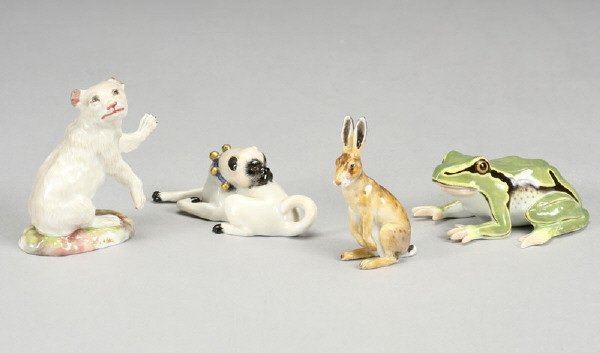 4: (4) Meissen porcelain miniature animals
