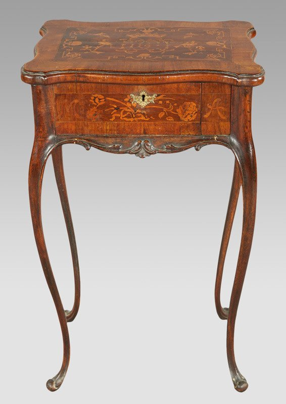 5: French mahogany marquetry side table