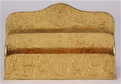 6: A Tiffany Studios gilt bronze Zodiac paper rack
