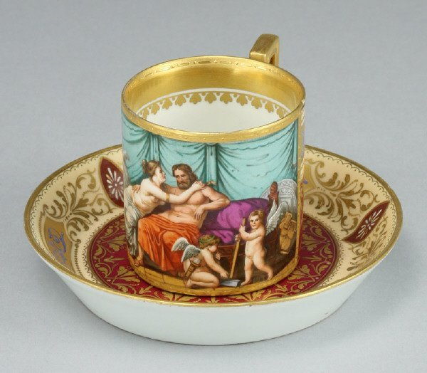 21: Royal Vienna coffee can and saucer with a ground