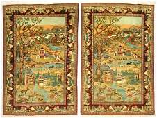 106 Pair of Persian Tabriz pictorial rugs