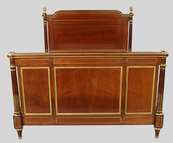 107: Louis XVI style mahogany and ormolu mounted bed