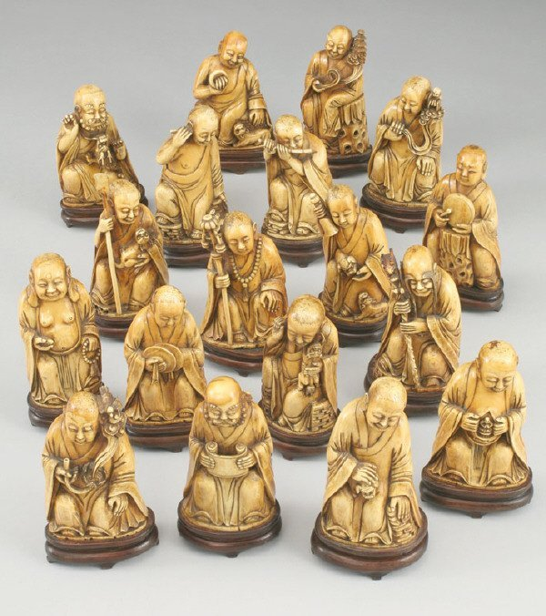 291: (18) Carved ivory Qing Dynasty Buddhist lohans
