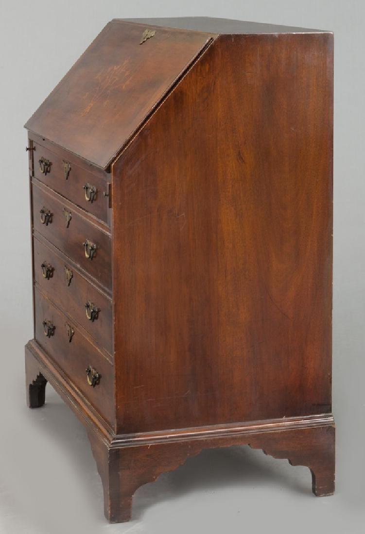 George III style English inlaid mahogany slant front - 3