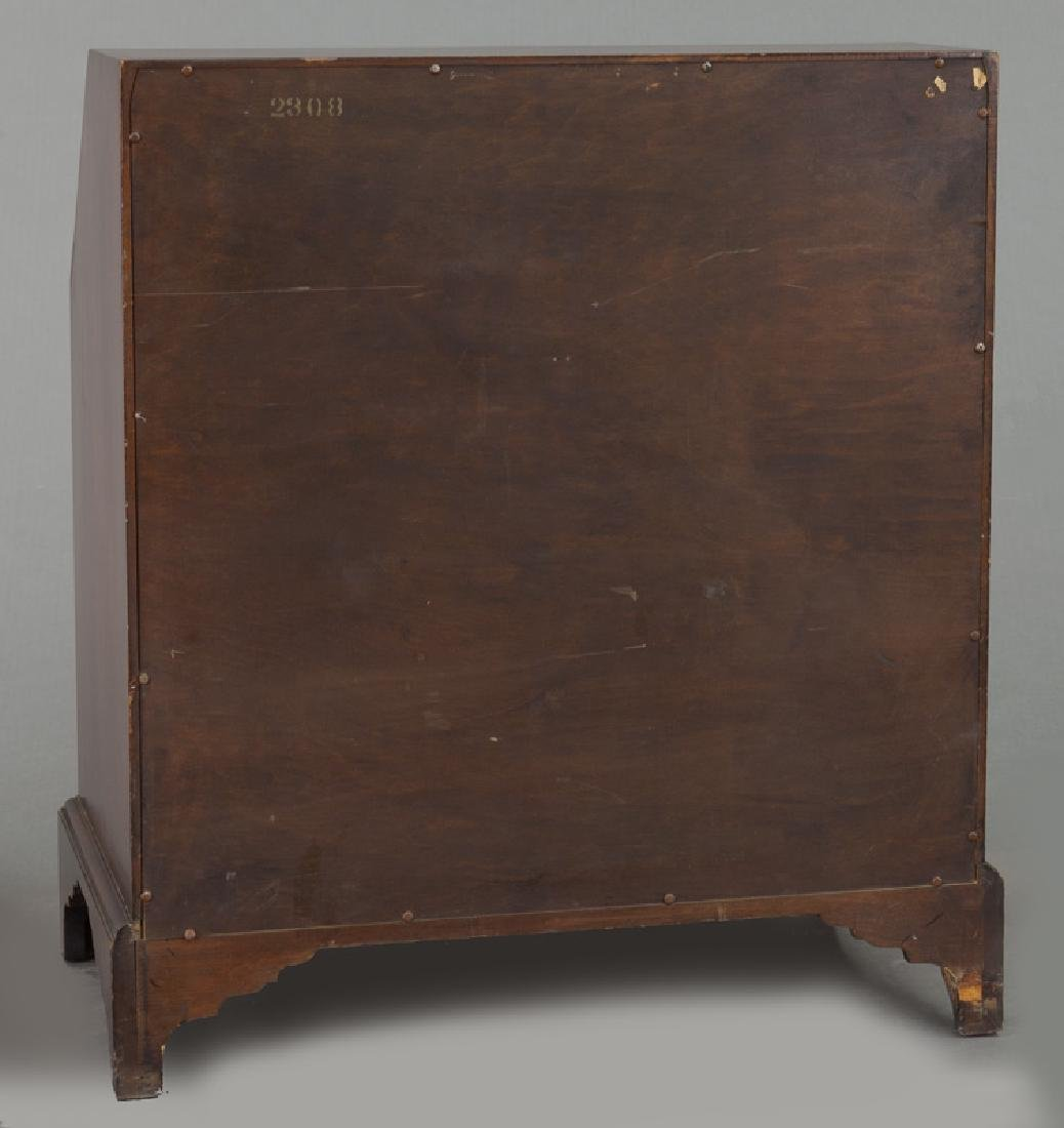 George III style English inlaid mahogany slant front - 4