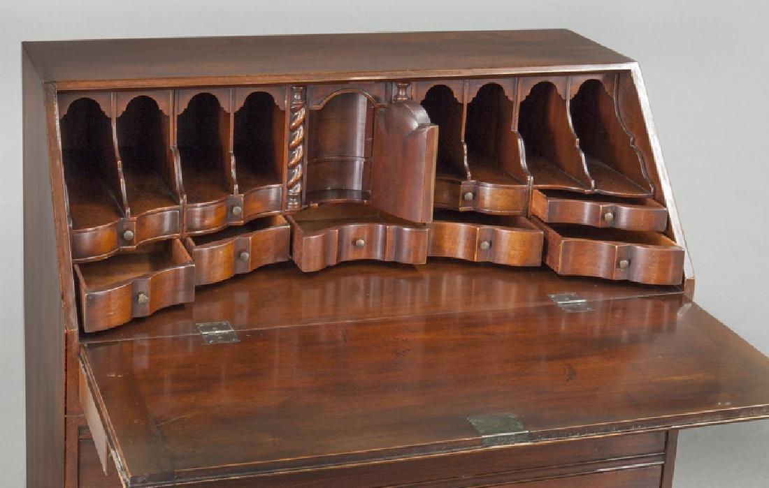 George III style English inlaid mahogany slant front - 8