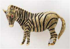 18K gold and enamel zebra brooch with diamond and