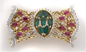 18K gold diamond ruby and emerald brooch