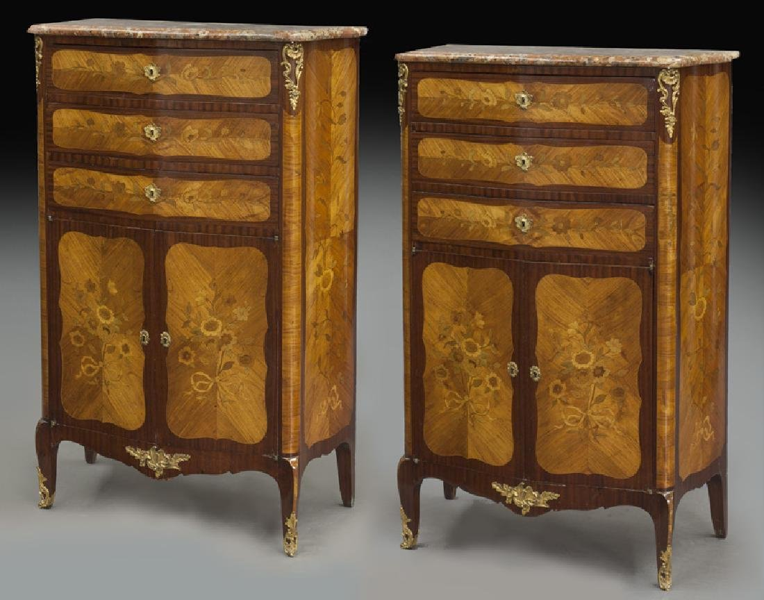 Pr. 19th C. French marquetry inlaid cabinets