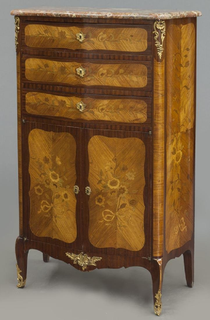 Pr. 19th C. French marquetry inlaid cabinets - 2
