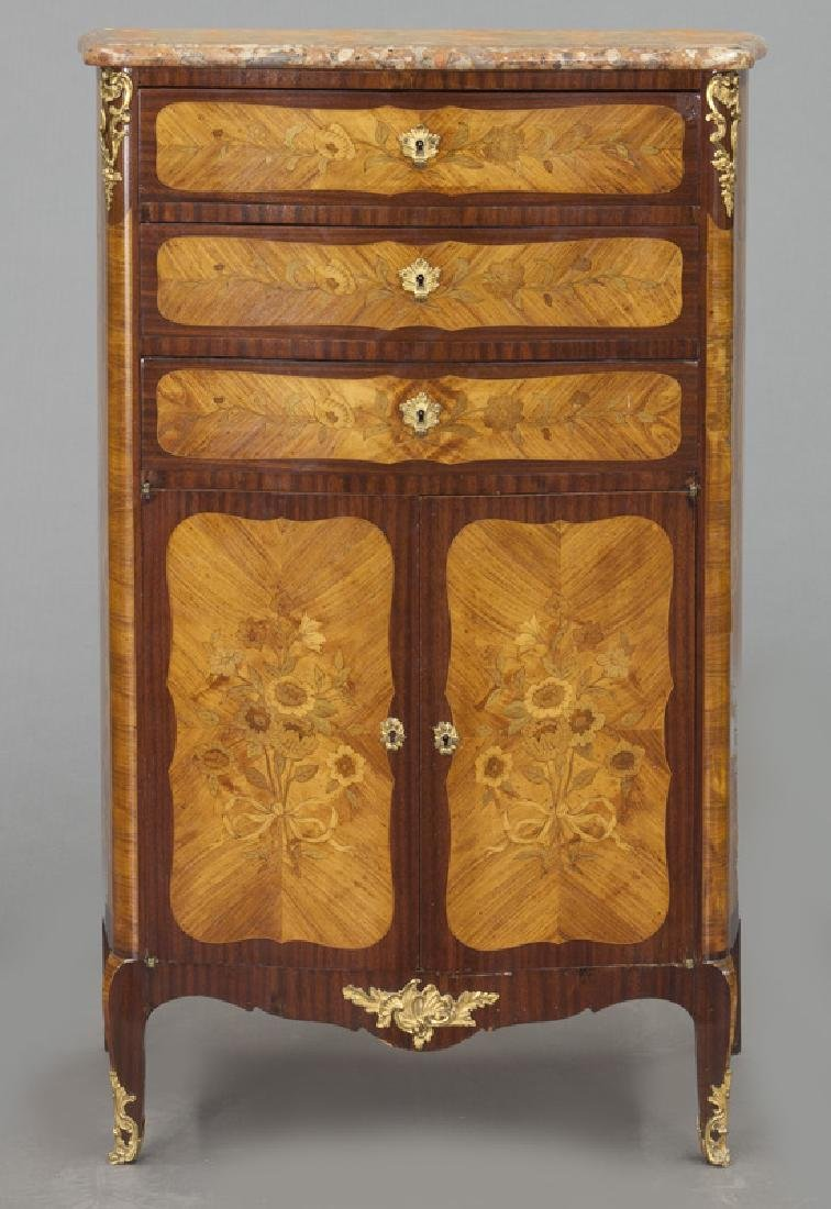 Pr. 19th C. French marquetry inlaid cabinets - 3