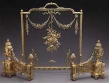 Bouhon gilt bronze firescreen and pair of