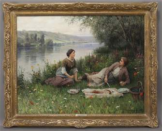 "Daniel Ridgway Knight ""The Rest-Hour"" oil on"