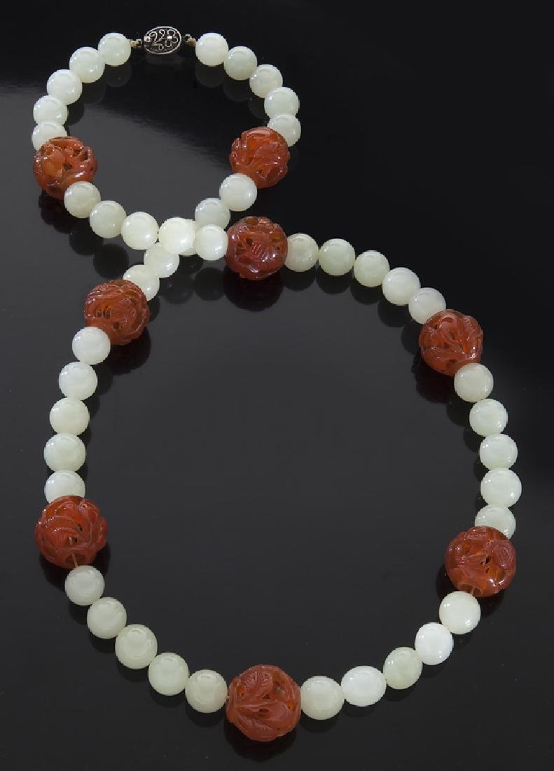 Chinese carved jade and agate beaded necklace,