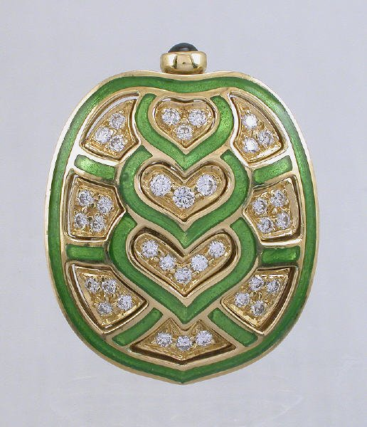 1: Judith Leiber 18K gold, enamel and diamond pin