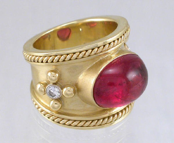 2: 18K gold and pink tourmaline Etruscan ring
